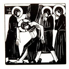 Stations of the Cross XIII. Jesus Is Taken Down. Eric Gill woodcut.