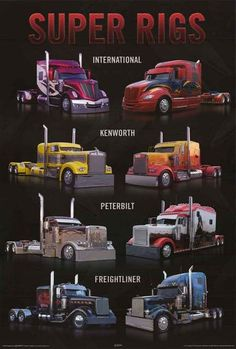 A great poster of Super Rigs - tricked out semi trucks from International, Kenworth, Peterbilt, and Freightliner! Perfect for Truckers who like to ride in style. Fully licensed - 2011. Ships fast. 24x