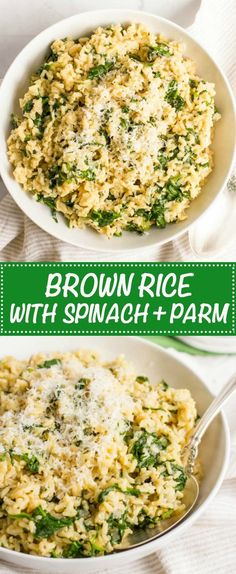 Brown rice with spinach and Parmesan cheese is an easy, healthy, one-pot side dish with just a few simple ingredients! (ad) | www.familyfoodonthetable.com