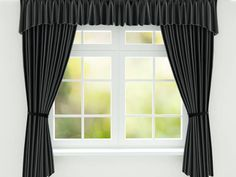 black curtain on the window 3d render