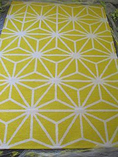 lemon yellow geometric starburst rug