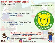 Our Winter class offerings for intermediates. Sign up your Cub Cadets today! Online booking is now available! #TeddyTennis #SportMusicFun
