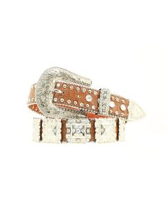 Show off your fashion sense with this great Nocona belt by M&F Western Products . Belt is a brown croc print. Large square Conchos with rhinestones are on the center of the strap. Silver ball-chain edging.