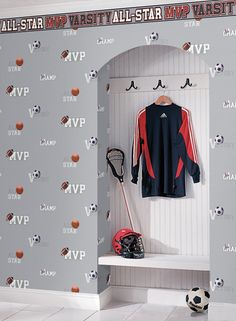 Create a unique bedroom space for your athlete with MVP wallpaper and border. http://sportsdecorating.com
