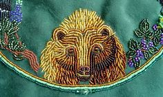 bead embroidery, grizzly bear design, Janet Dann