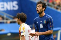 Marco Parolo of Italy reacts during the UEFA EURO 2016 round of 16 match between Italy and Spain at Stade de France in St. Denis, France, on June 27, 2016.