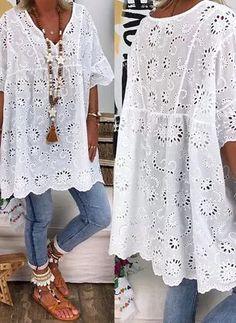 Plus Size Solid Casual V-Neckline Sleeves Blouses - White L - Herren- und Damenmode - Kleidung Plus Size Blouses, Plus Size Dresses, Plus Size Clothing, Clothing Sites, Boho Fashion, Fashion Dresses, Womens Fashion, Dresses Dresses, Fashion Blouses