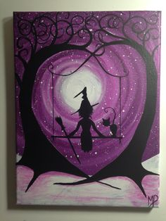 I wish I may  9 x 12 acrylic on canvas panel by MichaelHProsper, $30.00 A Witch and her cat