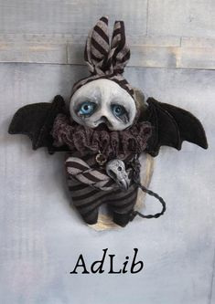AdLib the Grimmblee - a one of a kind creepy-cute Gothic little monster Soft Sculpture, Sculptures, Big Blue Eyes, Broody, Clay Faces, Creepy Cute, Little Monsters, Cute Creatures, Black Felt