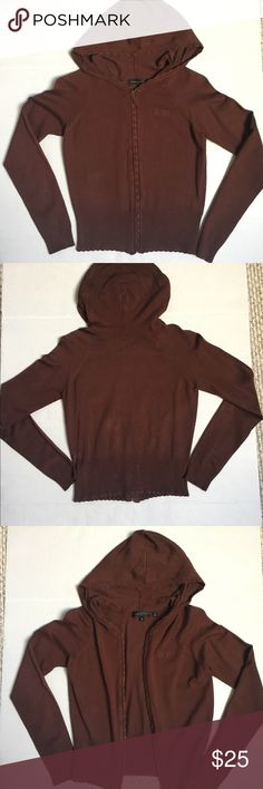 BCBG Max Azria . Brown Cardigan size small BCBG Max Azria . Brown Cardigan , size small. Front zipper and a hoodie. In excellent condition . BCBG Sweaters Cardigans