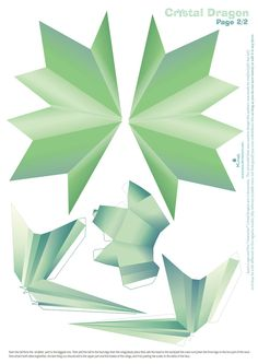 Crystal Dragon Statue Papercraft pattern02 by Kna