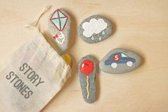 DIY Story Stones in a cloth bag. Just pull out pictures & let kids create imaginative stories. Such a fun Kids Game for Storytelling. Via Think Crafts Diy For Kids, Crafts For Kids, Fun Crafts, Arts And Crafts, Rock Crafts, Craft Projects, Projects To Try, Story Stones, Pebble Art