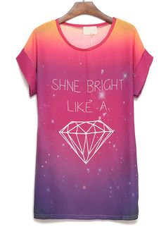 Rose Red Short Sleeve Diamond Letters Print T-Shirt - Sheinside.com