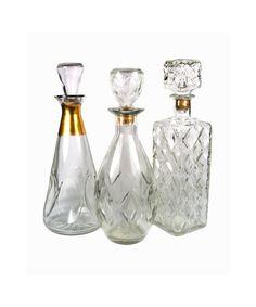 Vintage Set of Mid Century Glass Decanters