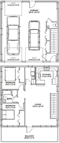 28x32 house 28x32h1 895 sq ft excellent floor for Two bedroom garage apartment plans