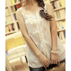 Wholesale Hollow Out Design Sleeveless Buttons Embellished Solid Color Spaghetti Strap Tank Top
