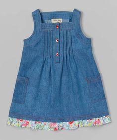 P'tite Môm Blue Denim Pin Tuck Dress - Toddler & Girls by P'tite Môm #zulily #zulilyfinds