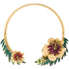 Elizabeth Cole Flower Choker ($430) ❤ liked on Polyvore featuring jewelry, necklaces, flower jewellery, 24 karat gold jewelry, 24-karat gold jewelry, flower necklace and gold plated jewelry