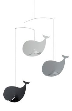 Flensted Mobiles 'Happy Whales' Crib Mobile available at Whale Nursery, Nautical Nursery, Nursery Grey, Ocean Nursery, Marimekko, Scandinavian Nursery Decor, Whale Mobile, Mobile Baby, Minimalist Nursery