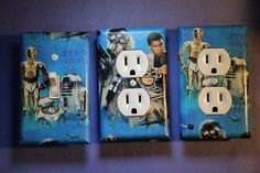 Star Wars Force Awakens C3PO R2D2 BB8 3 pc Light Switch Cover room home decor #Unbranded