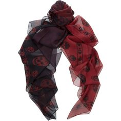 Alexander McQueen Skull-print degradé silk-chiffon scarf ($575) ❤ liked on Polyvore featuring accessories, scarves, red, alexander mcqueen, black, red shawl, alexander mcqueen scarves, red scarves and silk chiffon shawl