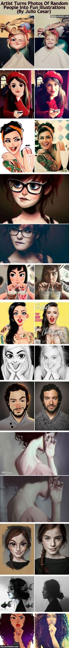 Artist Turns Photos Of Random People Into Fun Illustrations (By Julio Cesar) art cool awesome artist drawings illustrations illusions