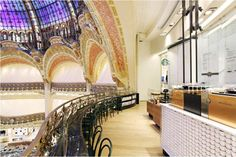 The Galeries LaFayettes Store in Paris, opened 23 Sept 2013! To read more about this store, please check out this article:  http://www.luxurytravelmagazine.com/news-articles/starbucks-opens-store-in-paris-fashion-institution-galeries-lafayette-20122.php
