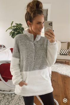Amazon find: super cozy two tone fleece quarter zip pullover. Wearing size Medium. Under $30. Walmart leggings with hidden pockets, under $15. American Eagle favorite Henley is on sale for $17! Hello Gorgeous Blog #AngelaLanter LIKEtoKNOWit Outfit Latest Fashion Trends LATEST FASHION TRENDS | IN.PINTEREST.COM ENTERTAINMENT #EDUCRATSWEB