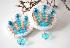 @Elena Handmade #earrings #sequin #embroidery #beads #turquoise #white #jewelry
