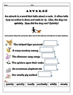 This adverbs printable is a basic introduction to adverbs as modifiers of verbs. Young students love to cut and paste, and they'll be practicing re...