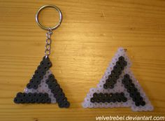 Abstergo Industries Keychain - Perler Beads by ~VelvetRebel on deviantART