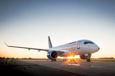 Bombardier's CSeries pictured on the runway ahead of its first flight in Mirabel, Quebec.