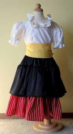 Yo Ho Ho! Your child will be ready to sail the open sea in this sweet little pirate princess costume. Costume includes dress and yellow sash.    Size 3
