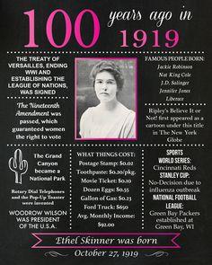 My grandmother was born this year 100 Years Celebration, Birthday Celebration, Birthday Parties, Birthday Ideas, 1954 Birthday, 80th Birthday, Katherine Johnson, Chalkboard Poster, Grandma Birthday