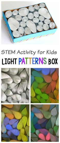 Reflection Science Project for Kids: Explore colorful light patterns with a homemade mylar light box. Super fun and cool STEM / STEAM activity for kids! Science Projects For Kids, Steam Activities, Science Activities For Kids, Preschool Science, Elementary Science, Preschool Learning, Kids Crafts, Cool Science Experiments, Stem Science