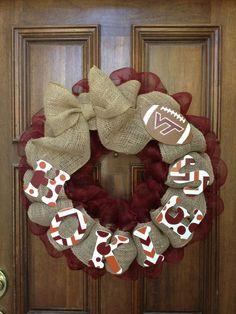 Virginia Tech Hokies wreath by Ava Loryn on Etsy and Facebook.