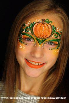 Kürbis-Prinzessin Artist: Belinda Wurmitzer Halloween Facepaint Kids, Face Painting Halloween Kids, Amazing Halloween Makeup, Halloween Masks, Halloween Make Up, Painting For Kids, Tolle Halloween Kostüme, Face Paint Party, Face Painting Designs