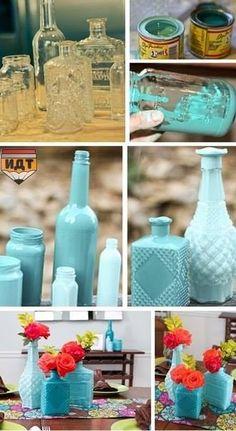DIY paint bottles and jars! LOVE :)