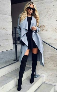 over-knee boots with cool pale blue coat and black mini dress | women's fashion | street winter style