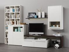 Bellano wall storage unit with cabinet and sideboard in white matt with smoked oak veneer