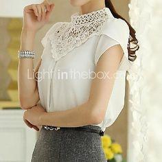gola alta rendas splicing blusa de manga curta das mulheres - USD $ 7.99