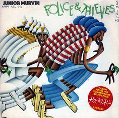 Junior Murvin / Jah Lion - Police And Thieves / Soldier And Police War Boy Music, Reggae Music, Junior Murvin, Famous Album Covers, Jamaica Reggae, Dancehall Reggae, Cover Art, Vinyl Records, Disney Characters