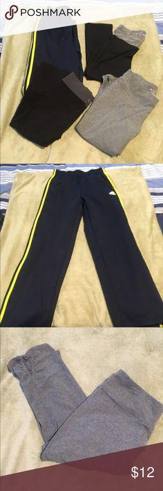 4 pairs for of work out pants/capris The pants are all size medium except the blue and gold addidas pants which is a size 14/16 girls but fits like a regular medium ladies. All are pre loved this low price. Spring cleaning has arrived. Brands are Tek, Champion and Adidas. many Pants Track Pants & Joggers