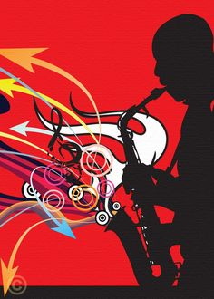 Jazz Art, Sax Player by The Art of James Cattlett. Prints are on the site for sale.