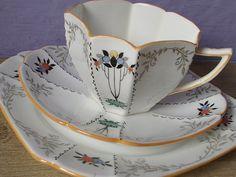 Antique 1920's Shelley china tea cup trio tea cup door ShoponSherman