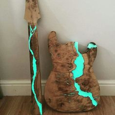custom guitars Custom body filled with resin mixed with florescent powder