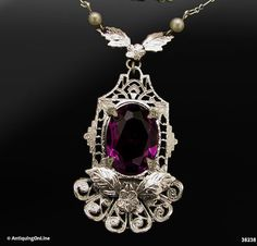 Edwardian Necklace Antique 1920s Faceted Purple by AntiquingOnLine