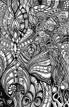 Psychedelic Romanesque 1 by *Artwyrd on deviantART zentangle Zentangle Drawings, Doodles Zentangles, Zentangle Patterns, Art Drawings, Adult Coloring Pages, Coloring Books, Colouring, Tangle Art, Doodle Inspiration