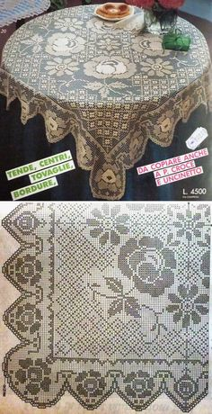 liveinternet.ru Crochet Bedspread, Crochet Tablecloth, Crochet Doilies, Crochet Lace, Crochet Edging Patterns, Filet Crochet Charts, Crochet Designs, Fillet Crochet, Yarn Crafts