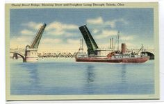 Steamer Freighter Cherry Street Bascule Bridge by ThePostcardDepot